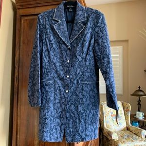 Christine Alexander crystal accent long coat. L
